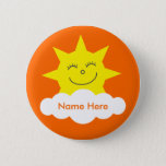 Cute Customizable Happy Sun Orange Name Tag Pinback Button