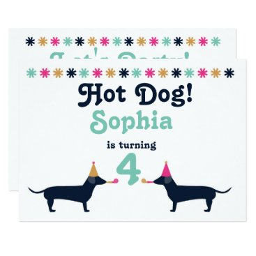 Cute Dachshund Wiener Dog Birthday Invitation. Card