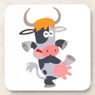 Cute Dancing Cartoon Cow Coaster Set