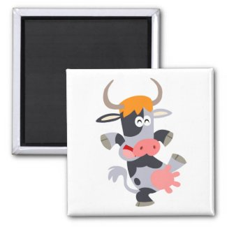 Cute Dancing Cartoon Cow Magnet