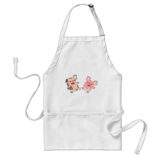 Cute Dancing Cartoon Pigs Cooking Apron apron