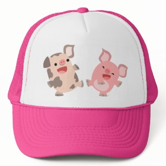 Cute Dancing Cartoon Pigs Hat hat
