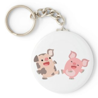 Cute Dancing Cartoon Pigs Keyring keychain