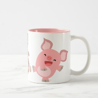 Cute Dancing Cartoon Pigs Mug mug