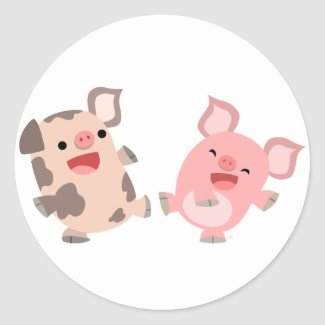 Cute Dancing Cartoon Pigs Sticker sticker