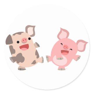 Cute Dancing Cartoon Pigs Sticker sticker