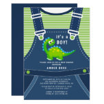 ❤️ Cute Blue Overalls With Green Dinosaur Baby Shower Invitation