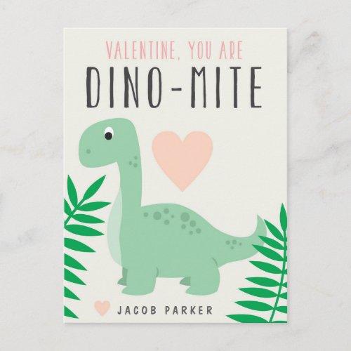 Cute Dinosaur Classroom Valentine Postcard
