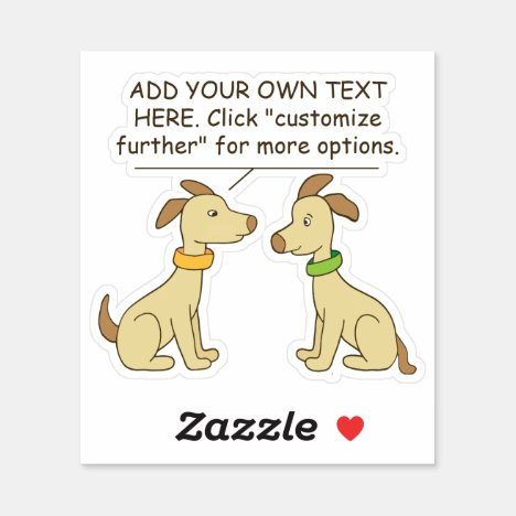 Cute Dogs Custom Text Comic Contour Cut Sticker
