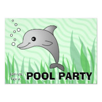 Cute Dolphin Pool Party Invitation
