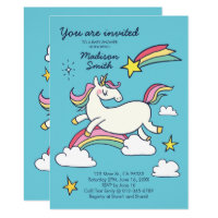 Cute Doodle Rainbow Unicorn and Stars Baby Shower Card