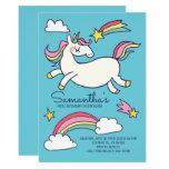Cute Doodle Rainbow Unicorn Stars Birthday Invitation