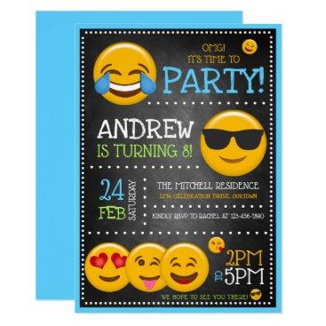 Cute Emoji Boy's Birthday Party Invitations