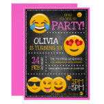 Cute Emoji Girl's Birthday Party Invitations