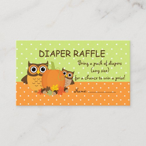 Cute Fall Owls and Pumpkin Diaper Raffle Tickets Enclosure Card