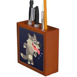 Cute Famished Cartoon Wolf Desk Organizer