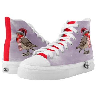 Cute Festive Robin Red-Breast Printed Shoes