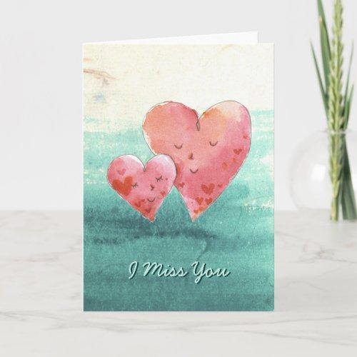 Cute Fine Art Love Hearts - I Miss You Holiday Card