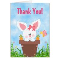 Cute Flower Pot Girl Bunny Thank You Card