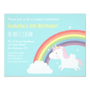 Cute Flying Unicorn Rainbow Girls Birthday Party Card