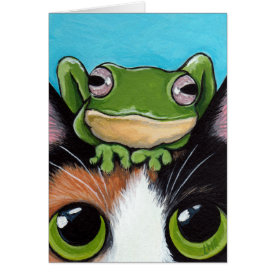 Cute Frog and Tortoiseshell Cat Greeting Card