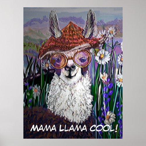 Cute Funny Mama Llama Keep Your Cool Poster