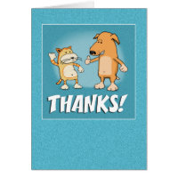 Cute, Funny Thank You card: Cat and Dog Card