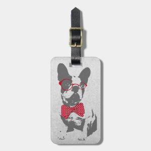 Cute funny trendy vintage animal French bulldog Luggage Tags