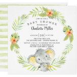 Cute Gender Neutral Jungle Elephant Baby Shower Invitation