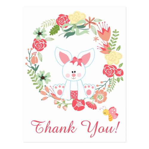 Cute Girl Bunny and Flower Wreath Thank You Postcard