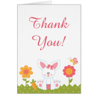 Cute Girl Bunny and Flowers Thank You Card