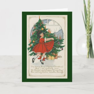 Cute Girl in Red Dress Christmas Card card