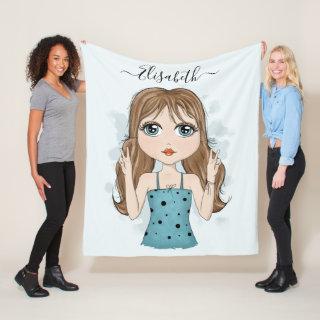 Cute Girl Peace Graphic Illustration Add Name Blue Fleece Blanket