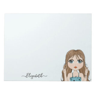 Cute Girl Peace Graphic Illustration Add Name Notepad