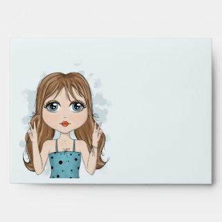 Cute Girl Peace Graphic Illustration Envelope