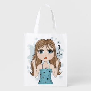 Cute Girl Peace Graphic Illustration Grocery Bag