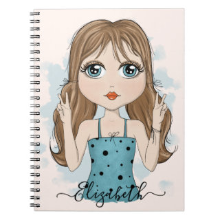 Cute Girl Peace Graphic Illustration Notebook