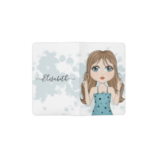 Cute Girl Peace Graphic Illustration Personalized Pocket Moleskine Notebook
