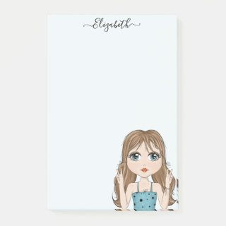 Cute Girl Peace Graphic Illustration Personalized Post-it Notes