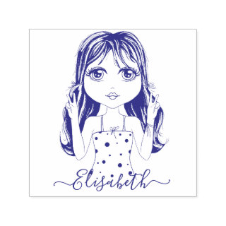 Cute Girl Peace Graphic Illustration Personalized Self-inking Stamp