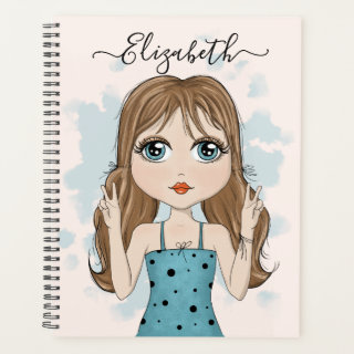 Cute Girl Peace Graphic Illustration Planner