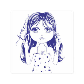 Cute Girl Peace Graphic Illustration Self-inking Stamp