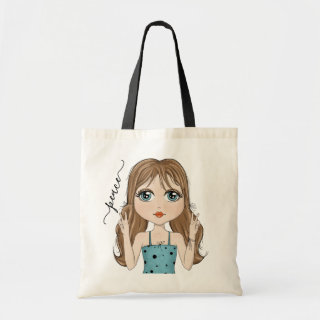 Cute Girl Peace Graphic Illustration Tote Bag