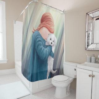 girl bhind shower curtin