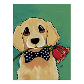 Cute Golden Retriever | Dog Art Postcard