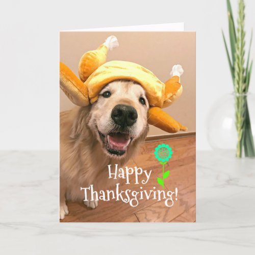 Cute Golden Retriever in Turkey Hat Thanksgiving Holiday Card