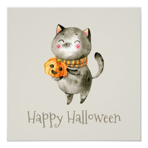 Cute Halloween Cat with Pumpkin   Party Invitation