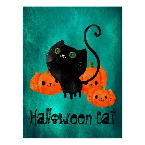 Cute Halloween cat with pumpkins Postcard