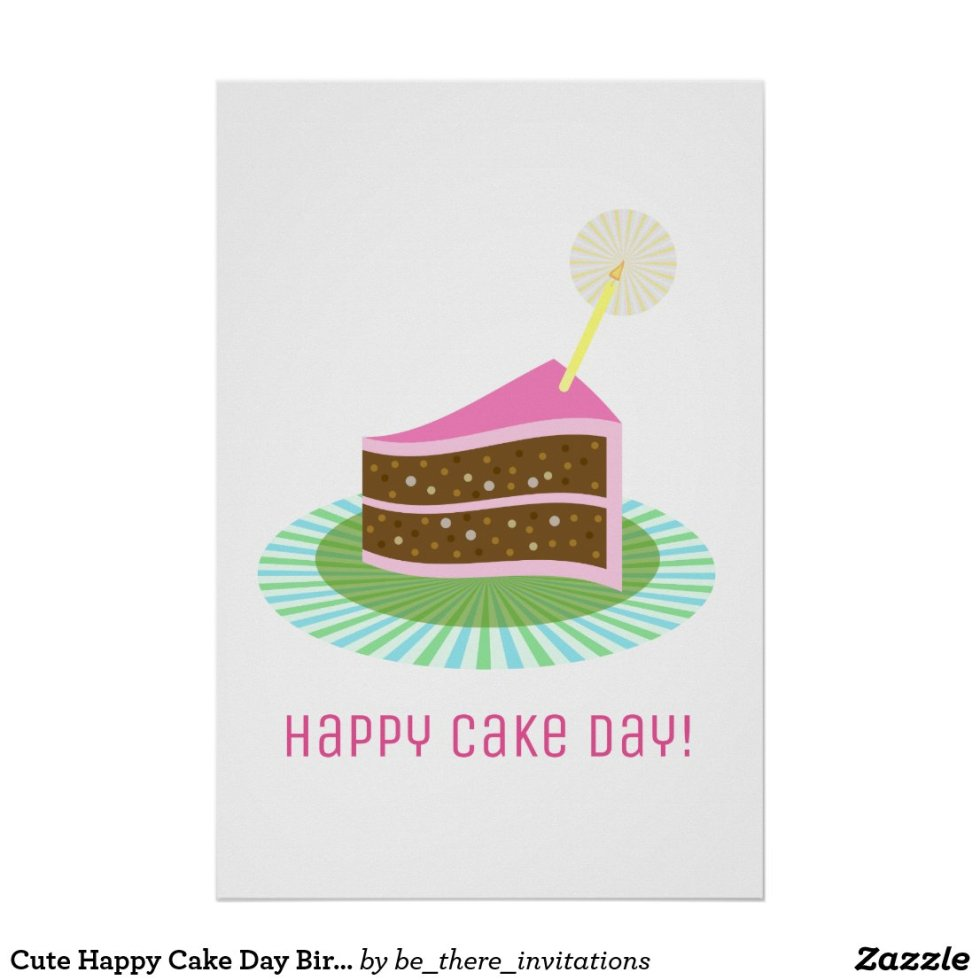 Cute Happy Cake Day Birthday Party Poster
