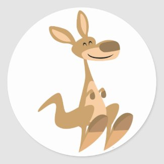 Cute Happy Cartoon Kangaroo Sticker sticker